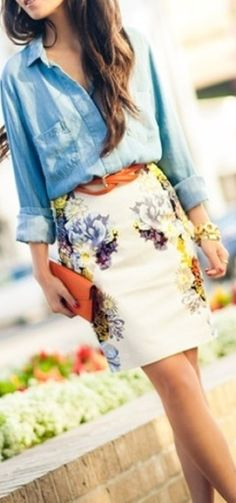 Pattern floral prints, summer looks, style, spring summer, denim shirts, pattern placement, pencil skirts, casual outfits, floral pencil skirt outfit