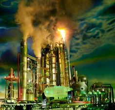 """David LaChapelle's """"Land Scape""""  n a new series called Land Scape, LaChapelle created handcrafted scale models of gas stations and refineries and photographed them with hundreds of LED lights. The work is an eerie look at the unsustainable landscape of today's global, industrial oil production and distribution system."""