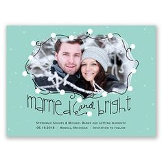 Holiday lights themed Save the Date card. Personalize it with your wedding color and your own wording. So cute! From www.invitationsbydawn.com