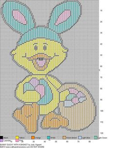 Bunny Duck With A Basket Pg 2/2 Plastic Canvas Christmas, Plastic Canvas Crafts, Plastic Canvas Patterns, Easter Projects, Easter Ideas, Bunny Crafts, Easter Crafts, Wall Canvas, Canvas Art