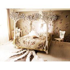 Under the apple tree canopy bed - Modern romantic Scandinavian design Sleep Therapy woodland fairy tale. €13.500,00, via Etsy.
