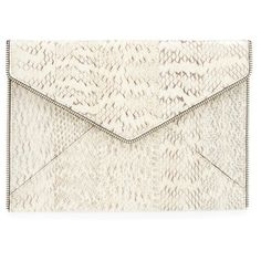 Rebecca Minkoff 'Leo' Envelope Clutch ($195) ❤ liked on Polyvore featuring bags, handbags, clutches, cream, envelope clutch bag, genuine leather handbags, white leather handbags, genuine leather purse and real leather handbags