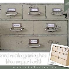 Card Catalog-looking Jewelry Box - Ikea Moppe Hack