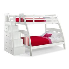 Canwood Ridgeline Twin over Full Bunk Bed with Built in Stairs Drawers - White