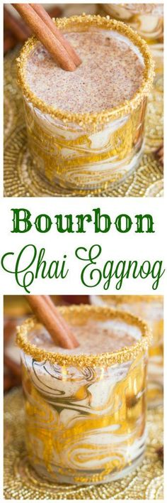 Chai-spiced eggnog, spiked with bourbon! So simple, but those warm holiday spices and the kick of booze are a big upgrade to your regular glass of eggnog!