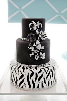 black and white zebra striped wedding cake