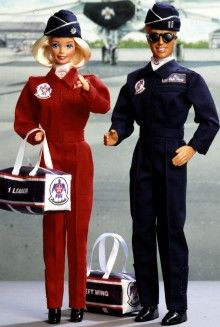 Air Force Barbie and Ken...who would have guessed Barbie out ranked Ken!