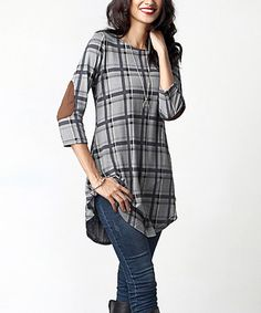 74b7e99e23bd Love this Gray  amp  Brown Plaid Elbow Patch Tunic on  zulily!  zulilyfinds
