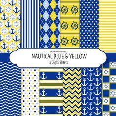 Nautical digital paper pack scrapbook papers by ValerianeDigital