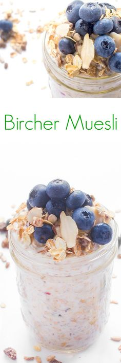 An easy and delicious make-ahead breakfast recipe, Bircher Muesli is made with oats, dried fruit and nuts soaked in yogurt.