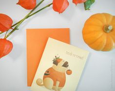 Don't let those fall & winter holidays sneak up on you! Get an early start on pumpkin season with these festive Halloween cards! ~ The Big-Boned Pug-kin | Available via Etsy.