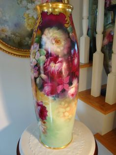 "Outstanding HUGE Antique Limoges France 22"" Floor Vase Gorgeous Roses~ from theverybest on Ruby Lane"