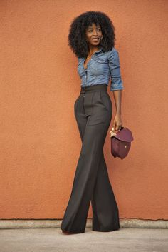 Street style high waist trousers and denim shirt
