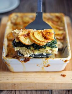 Potato and Kale Gratin or can use Sweet Potatoes & Spinach