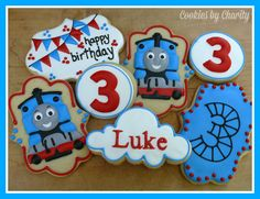 Thomas the Tank Engine decorated cookies - boys, birthday, bunting, railroad, trains. www.facebook.com/cookiesbycharity