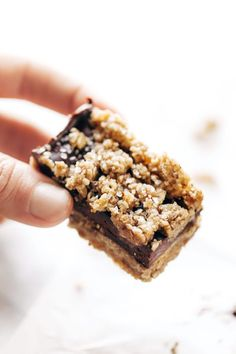 Rawmazing Salted Chocolate Snack Bars - simple no-bake bars with clean ingredients like pecans, oats, dates, coconut oil, and cocoa powder. Super healthy dessert or snack!   pinchofyum.com