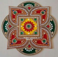 Thali Decoration Ideas, Diwali Decorations, Festival Decorations, Diwali Diy, Diwali Craft, Diwali Rangoli, Mandala Painting, Dot Painting, Indian Crafts