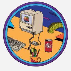 D E S K  #illustration #drawing #imac #apple #vintage #computer #art #80s #drpepper #can #mug #pen #colors #palm #keyboard #popart #イタリア#ミニマル#アート#アレッシオ #ファッション#ヴィンテージ #ローマ #alessiovitelli