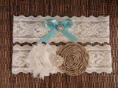 Burlap Wedding Garter, Burlap Rosette Flower Garter, Garter Set, Garter, Garter Belt, Garters, Turquoise Blue Bow Garter
