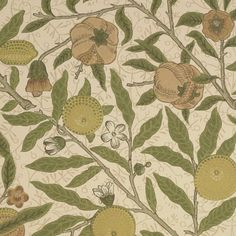 Fruit Wallpaper Classic William Morris Fruit wallpaper, in lime green an tan on a stone background.
