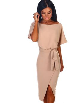 8be89b93 Came Here For Love Stone Belted Wrap Front Midi Dress Love Stoned, Going  Out Dresses. Pink Boutique UK