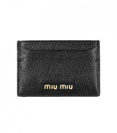 Miu Miu Madras Textured-Leather Cardholder in black