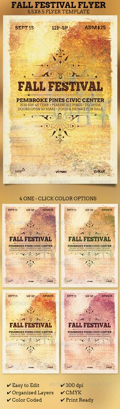 Fall Festival Flyer Template — Photoshop PSD #grunge #festival • Available here → https://graphicriver.net/item/fall-festival-flyer-template-/5737529?ref=pxcr