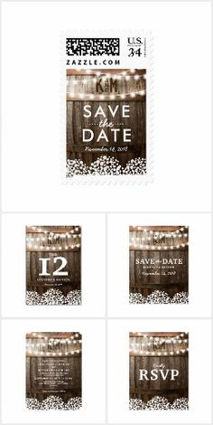 Rustic Country Chic SAVE THE DATE Barrel & Lace Twinkle String Lights Romantic Monogrammed Personalized Wedding Save The Date cards, Postage Stamps, Invites, Announcements, Invitations, RSVP, Table signs and more!