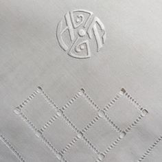 H T Monogrammed Vintage French Large Napkin by FrenchVintageRetro