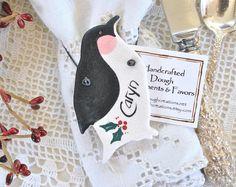 Penguin Favors Napkin Rings Christmas Salt Dough Ornaments Set of 10