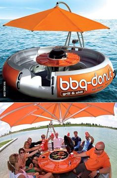 We found out that in Florida they have these BBQ Donut Boats you can rent. They're not inflated so they're more like a round pontoon, but they seat up. Grill N Chill, Bbq Grill, Outdoor Fun, Outdoor Decor, Boat Accessories, Pool Floats, Lake Floats, Water Toys, Jet Ski