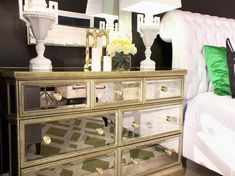 Special design mirrored dresser, it all of women's favorite.