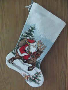 Ride Em Santa cross stitch stocking by UniqueChristmasbyAmy, $65.00