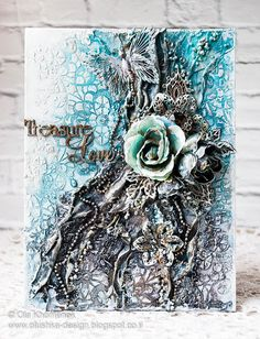 Home decor Mixed media collage on canvas Blue Gray