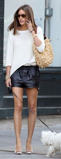 Street Style - Olivia Palermo. Leather shorts & a casual knit.