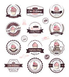 Buy Cupcakes Vintage Labels by Avantgraph on GraphicRiver. Vintage retro cupcakes bakery badges and labels Vector cupcakes is an vintage badges and labels. Cake Logo Design, Logo Design Template, Label Design, Web Design, Cupcake Logo, Cupcake Shops, Cupcake Icon, Dessert Logo, Logo Café