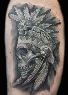 Dragon Tattoo With Skull, Tatto Skull, Indian Skull Tattoos, Skull Tattoo Design, Indian Tattoos For Men, Chicano Art Tattoos, Body Art Tattoos, Symbol Tattoos, Forarm Tattoos