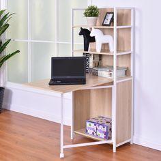 Folding Desk Cabinet Fold Out Convertible Study Workstation W/Bookshelf for sale online Computer Desk With Shelves, Bookshelf Desk, Bookshelves, Small Computer, Computer Desks, Fold Out Desk, Folding Desk, Desk Storage, Storage Spaces