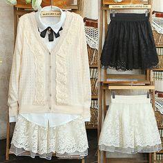 Spódnica New 2017 Koreański Pełna Koronka Haft Tulle Spódnica Mini Spódnice Moda Kobieta Spódnice Plisowane Spódnice W03