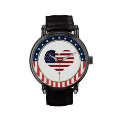 USA Patriotic Stars and Stripes Heart Wrist Watch. Styles for adult and children! Available in different bands from leather, stainless steel, glitter and more! Wonderful gift for military, vet, family or friends! #Patriotic #USA #Military #Watch