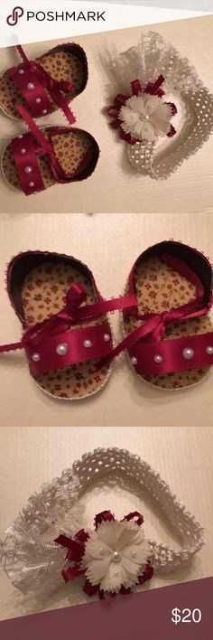 Hand made baby shoes & headband Newborn baby set size 0 Accessories Hair Accessories