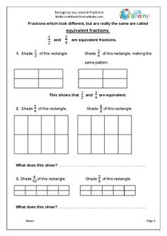 More on equivalent fractions, with examples showing that 4 fifths is equivalent to 8 tenths etc. Year 4 Maths, Decimals Worksheets, Equivalent Fractions