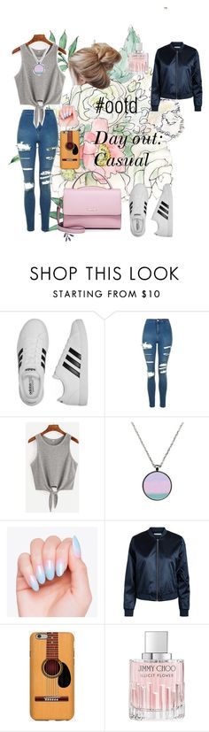 """Day out: Casual"" by sinasan on Polyvore featuring adidas, Topshop, Jakke, Jimmy Choo, WithChic, ootd and summer2016"