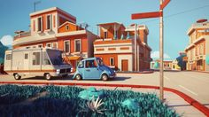 The 3D animation is set in a very graphical, cubistic world. The style is defined through geometric shapes and a warm colour palette.