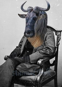 Wildebeest GNU man Art Mixed Media Collage Print digital altered Victorian surreal steampunk fashion Antique Photograph Fairy Tale image