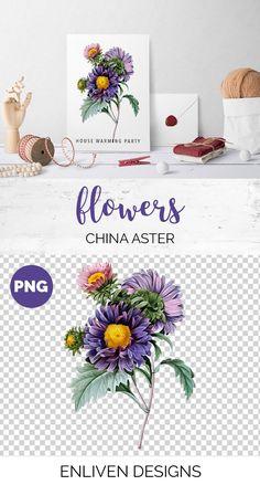 Flowers Aster Purple Clipart Vintage Clip Art Vintage Flower Download Clip Art