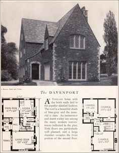Davenport House Plan - American Residential Architecture - 1929 Home Builders Catalog - English Brick - Two-story Cottage Style