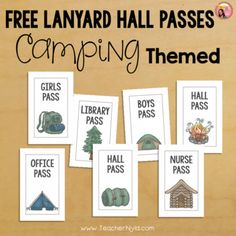 Free Hall Passes for Lanyards - Camping Theme by Nyla's Crafty Teaching | Teachers Pay Teachers Classroom Supplies, Classroom Themes, Free Teaching Resources, Teaching Ideas, School Forms, Growth Mindset Posters, Supply Labels, Hall Pass, Camping Theme