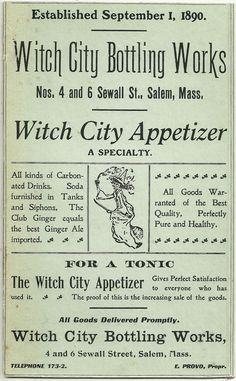 Sturdy Cardboard Advertisement Sign, Witch City Bottling Works, Salem, MA.
