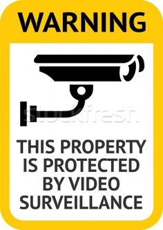 CCTV warning sign with rounded edges